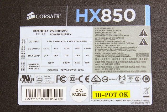 Label pada power supply corsair