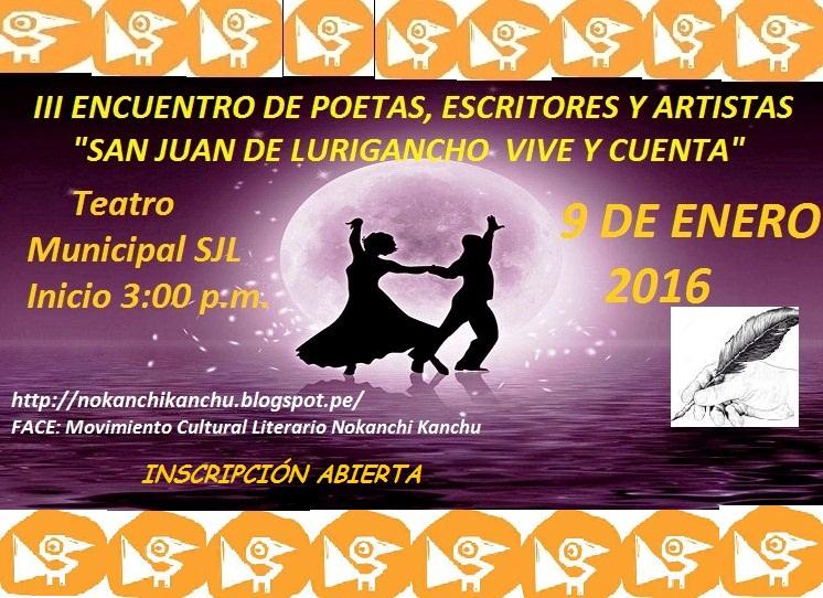III Encuentro de Poetas, escritores y artistas SJL