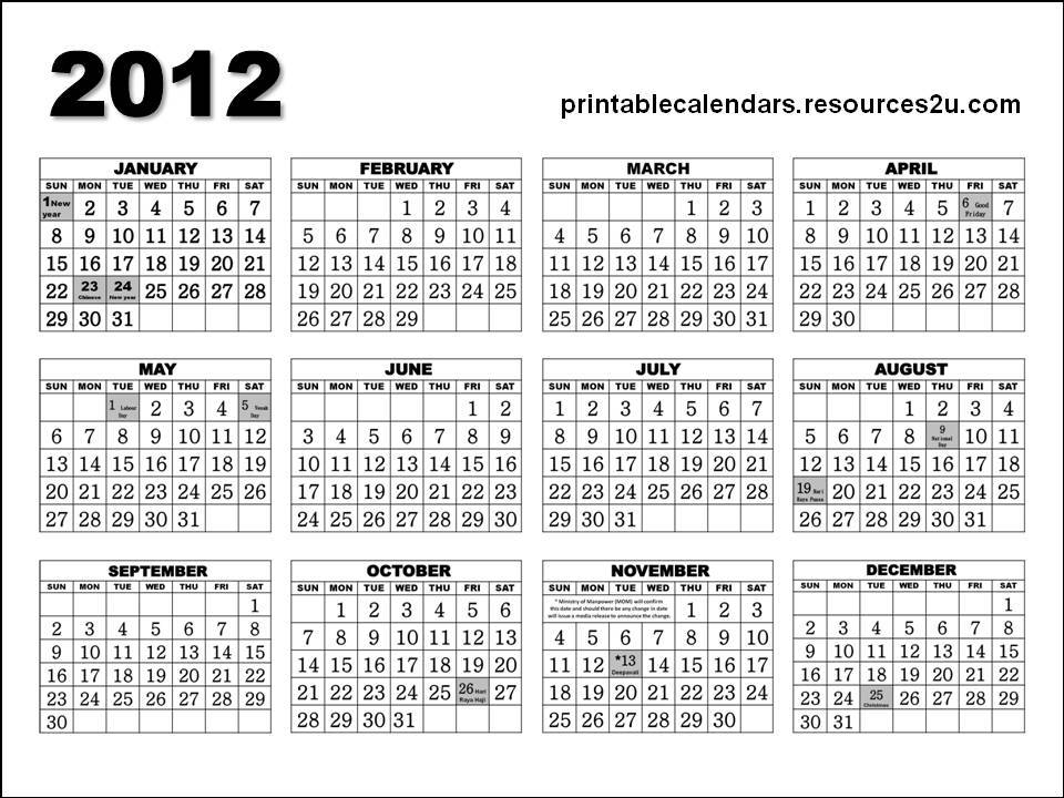 Free Homemade Calendars 2011 and 2012: Singapore 2012 Calendar ...