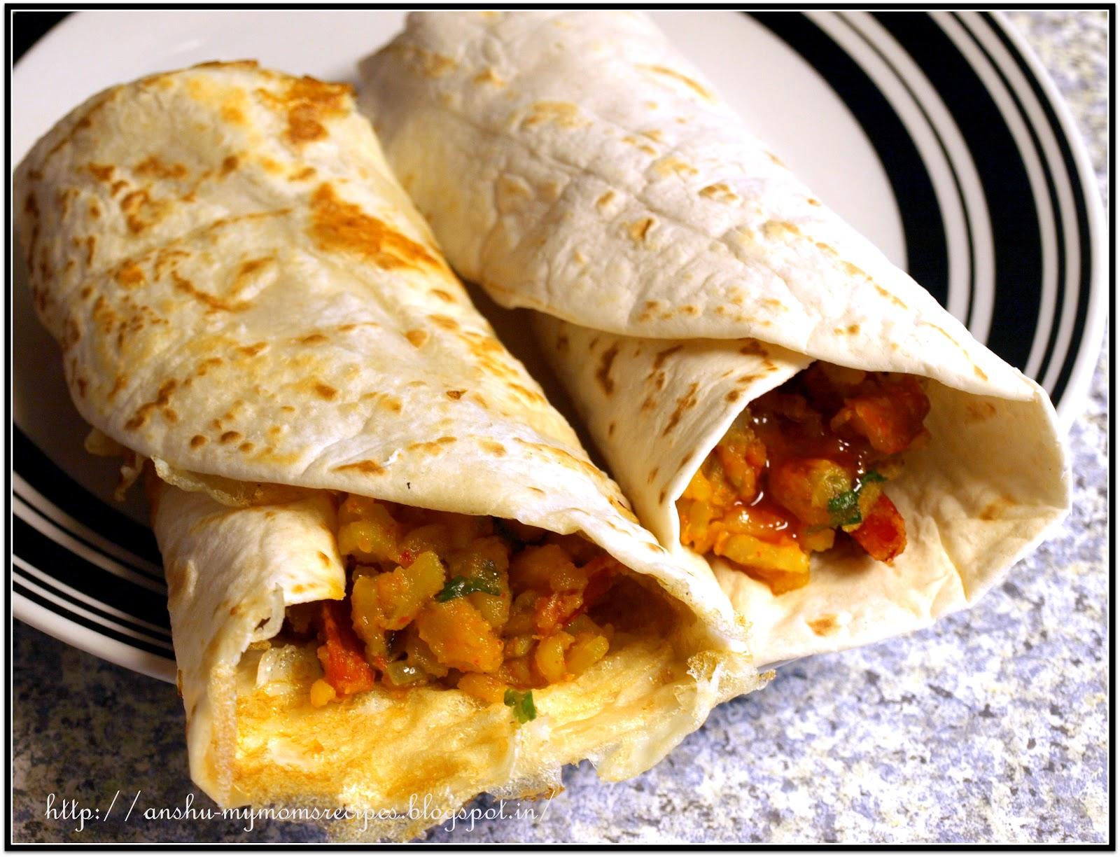 Veg Kathi Roll | Veg Frankie | Breakfast Burritos | MY MOM ...