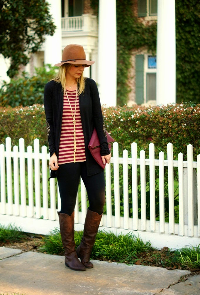 stripe tunic and riding boots for fall