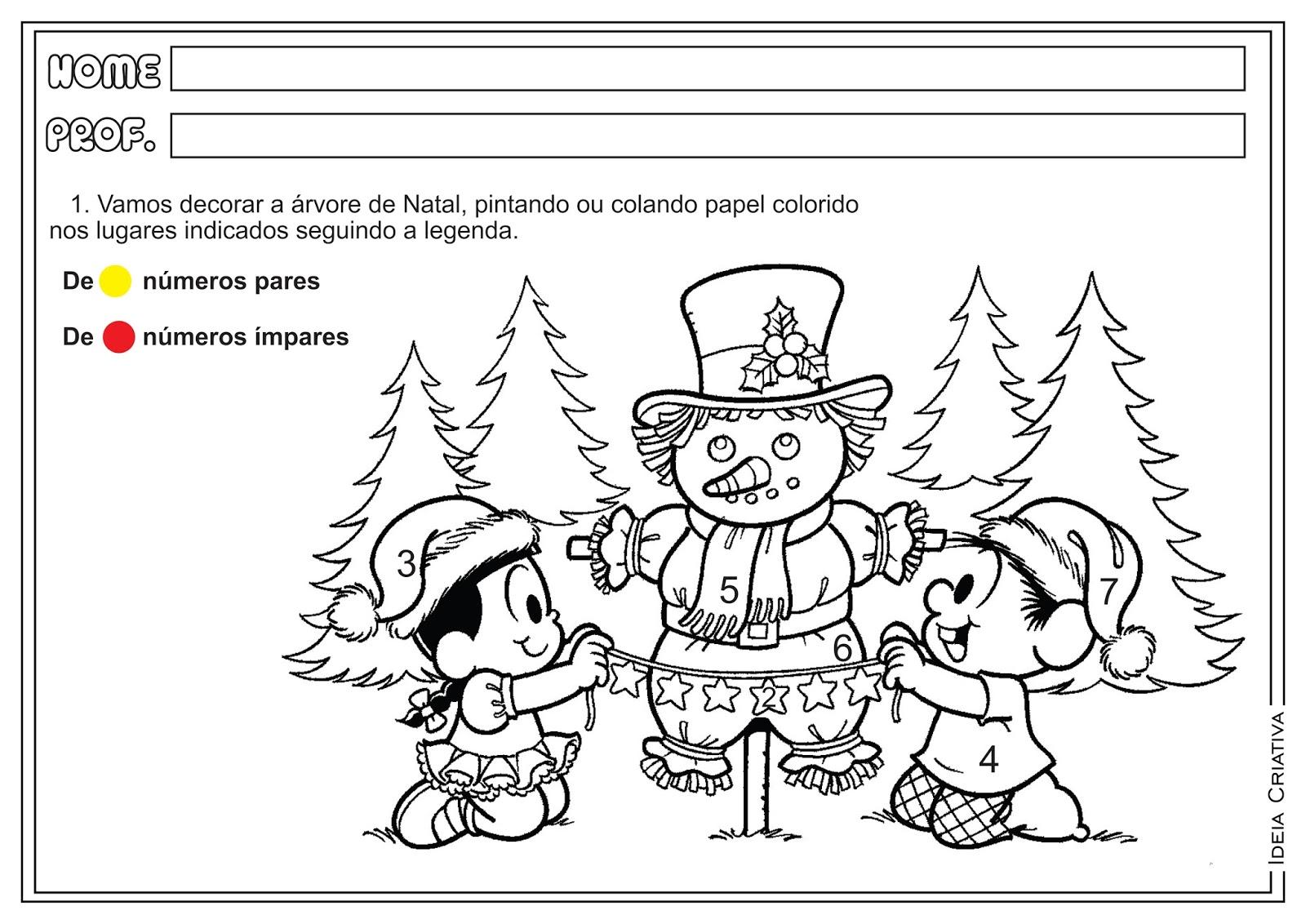 Atividades Natal Dobro Par e Ímpar Matemática