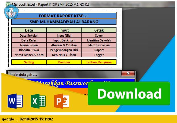 DOWNLOAD APLIKASI DAFTAR NILAI LENGKAP DENGAN  RAPORT SMP KTSP TP 2015-2016
