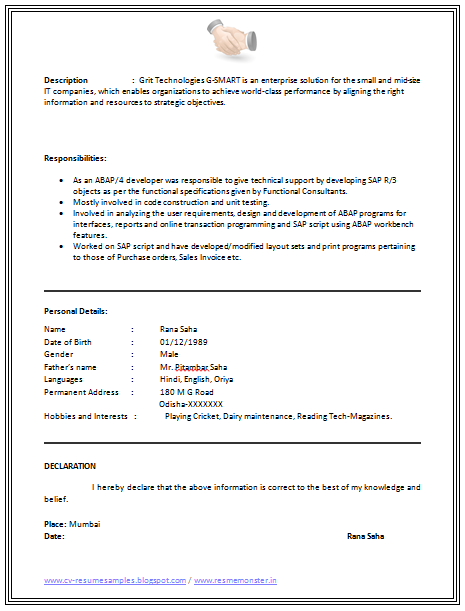 download resume format here - Resume I Hereby Declare