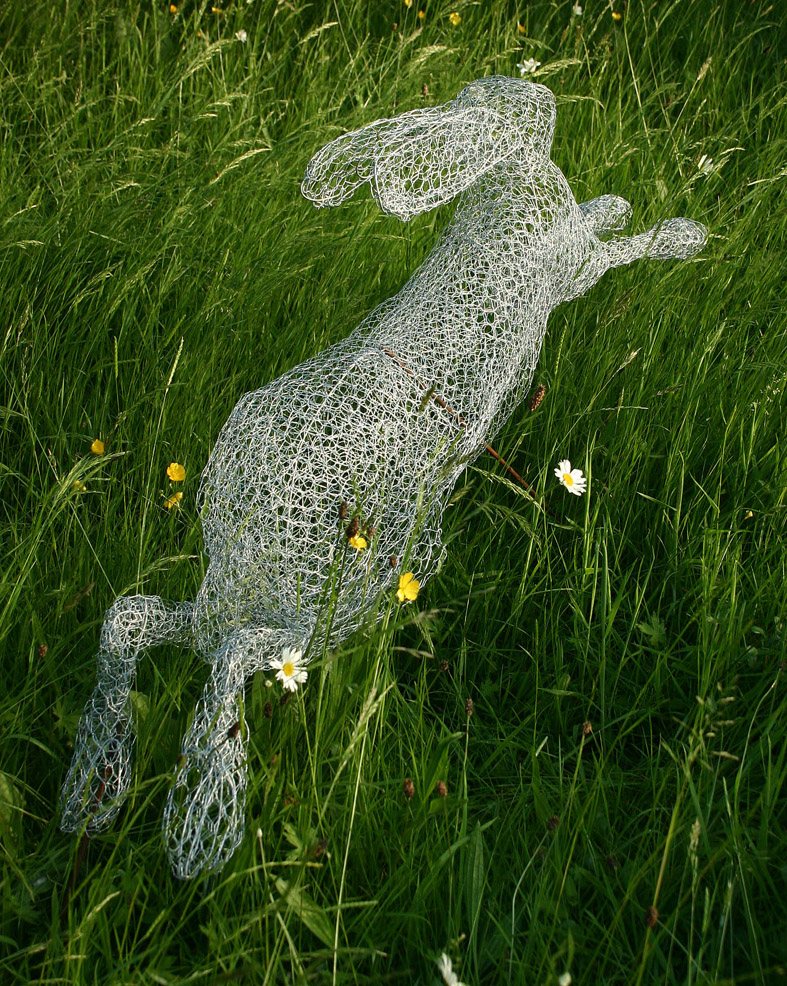 A faerietale of inspiration wire sculpted hare for Chicken wire art