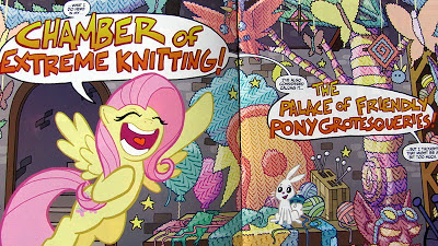 Fluttershy revels in her Chamber of Extreme Knitting