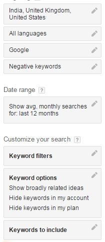 google keyword planner keywords filter options
