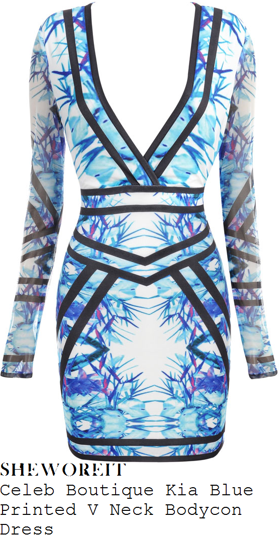 jasmin-walia-blue-and-white-tropical-leaf-print-v-neck-long-mesh-sleeve-bodycon-dress-towie-wrap-party