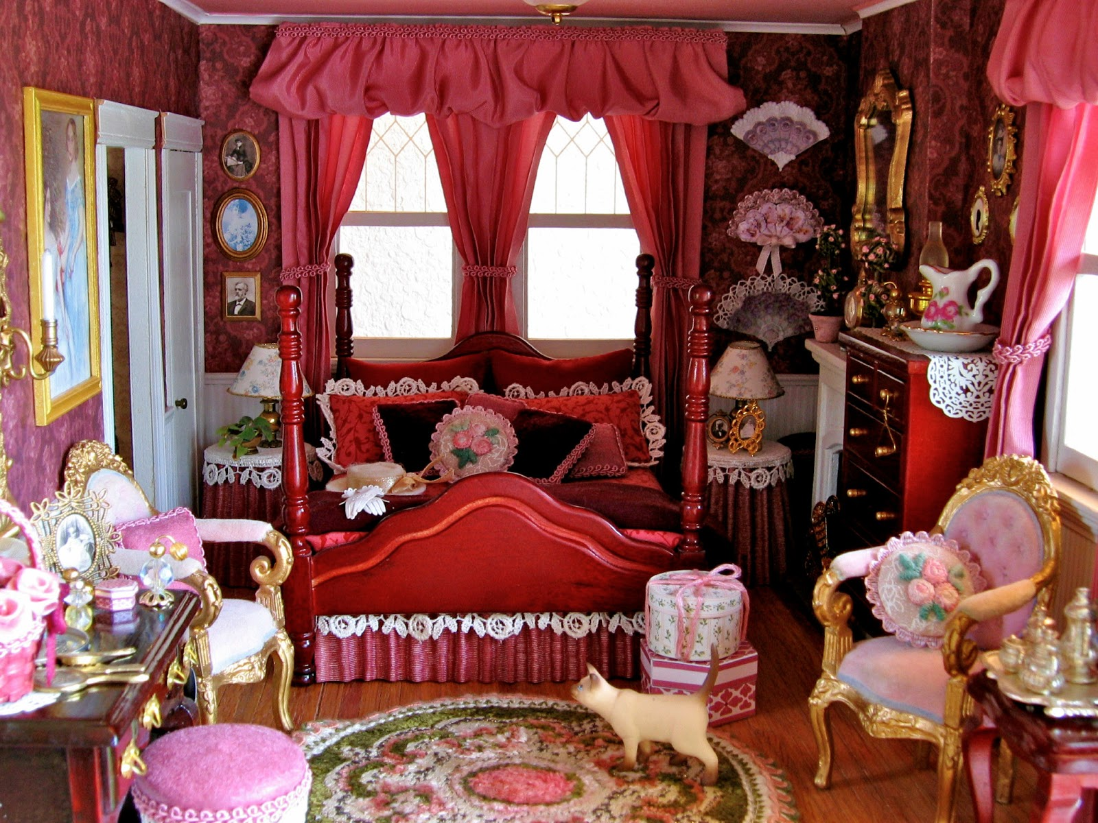 Victorian Dollhouse Bedroom And Bathroom, 1:12 Scale Miniatures, Pt 4