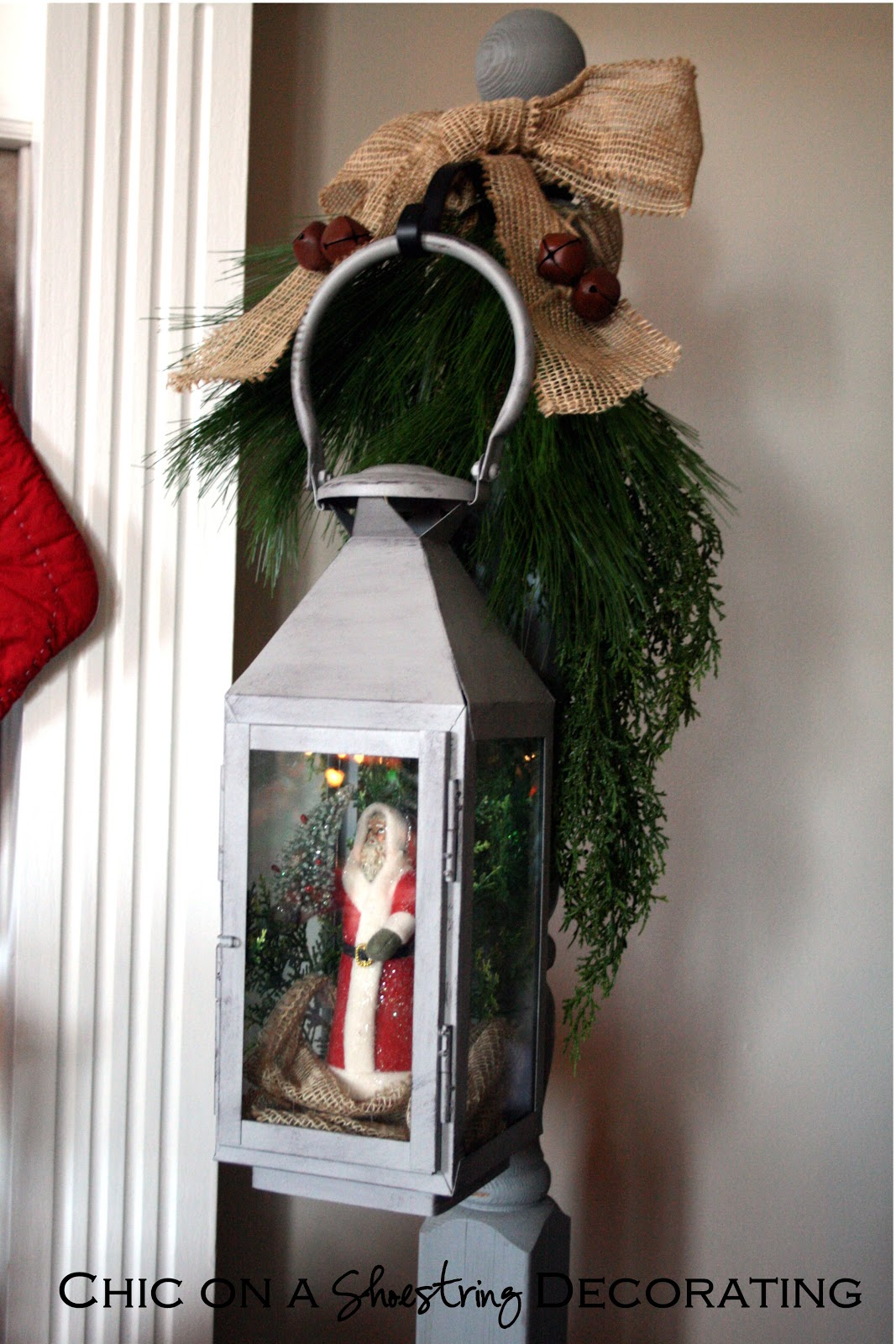 Chic on a shoestring decorating rustic christmas mantel for Images of lanterns decorated for christmas