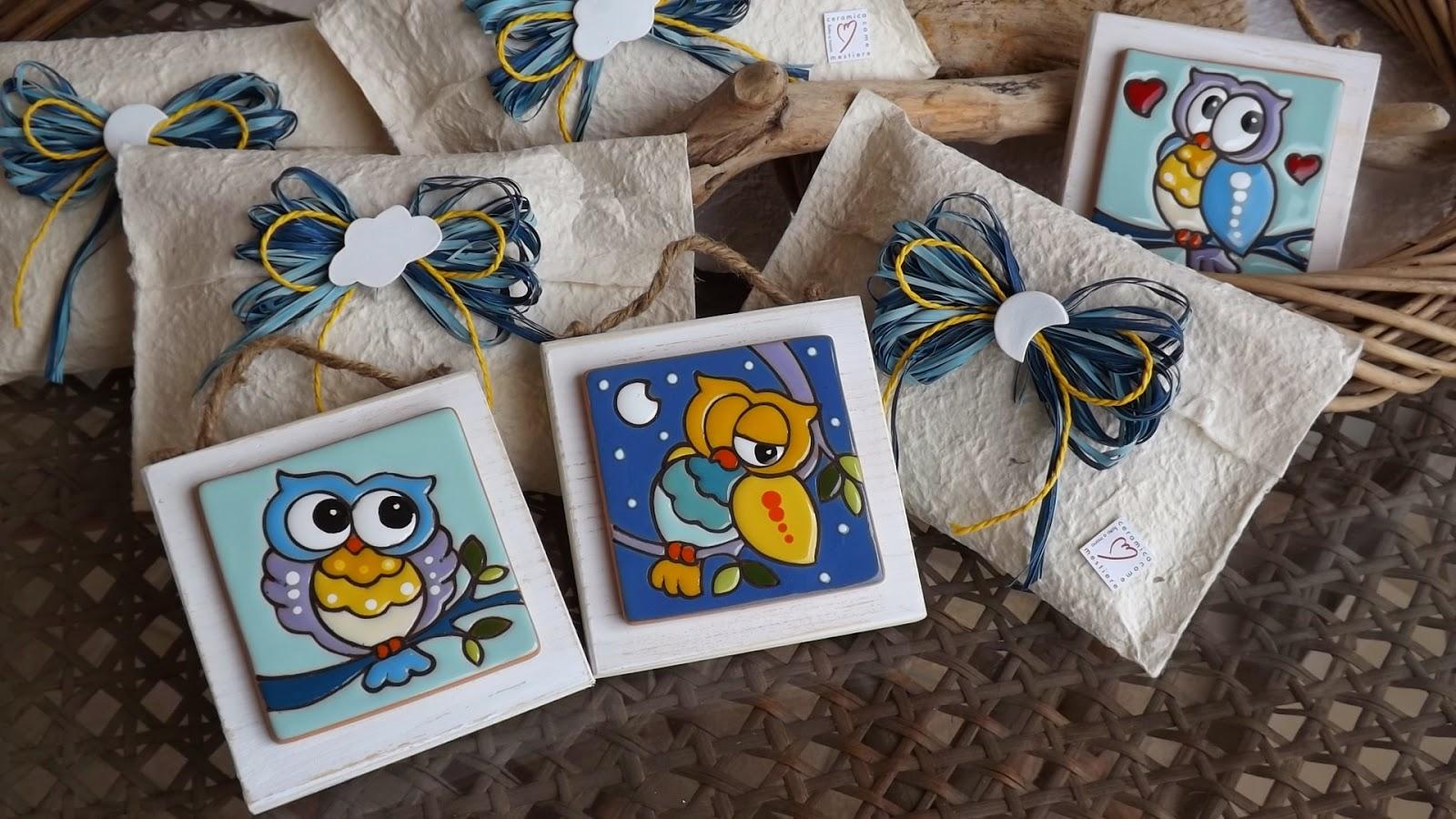 Ceramica come mestiere quadretti con gufi come bomboniera per la