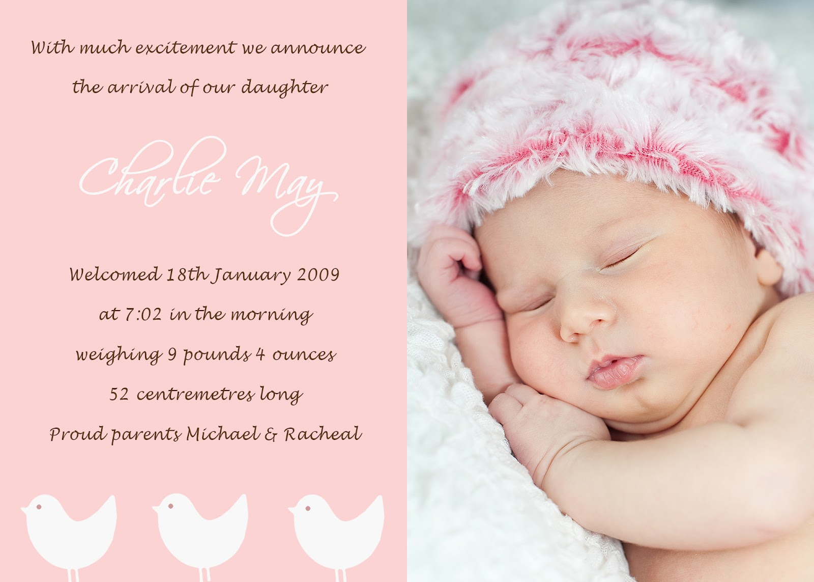 Free Christening Invitations For Boys – Sample Birth Announcement Wording