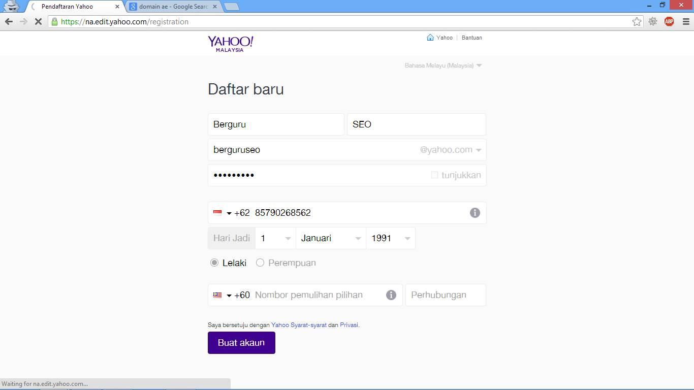 Cara Membuat Email Baru di Yahoo Indonesia gambar 2