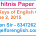 Nayab Chitnish Paper Solution/Answer Keys - 2-6-15 : English Grammar