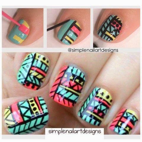 Diseños étnicos para uñas