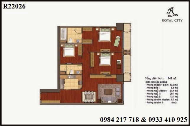 Mua bán chung cư Royal City, căn hộ R22026 thiết kế 3 phòng ngủ diện tích 148 m2 giá tốt 6ty157