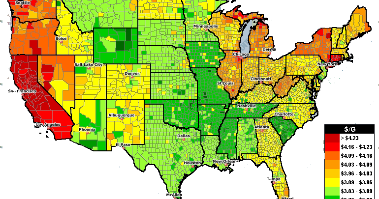 Map Us Gas Prices - Us gas map