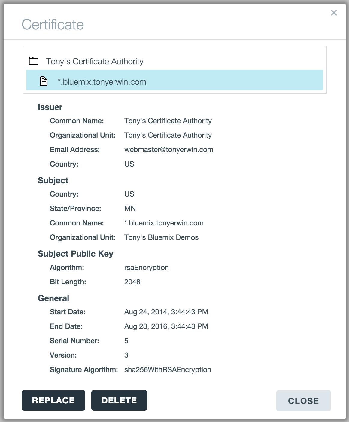 Bluemix UI: View Certificate