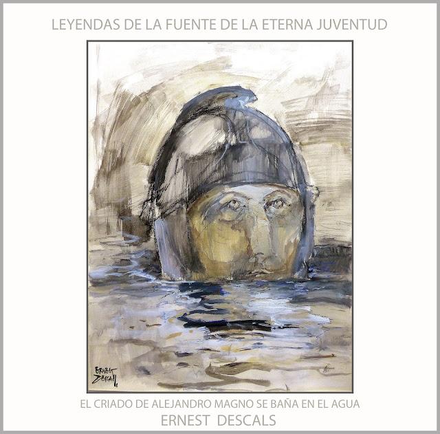 ALEJANDRO MAGNO-PINTURA-ARTE-FUENTE-ETERNA JUVENTUD-INMORTALIDAD-CRIADO-BAÑO-AGUA-ARTISTA-PINTOR-ERNEST DESCALS-