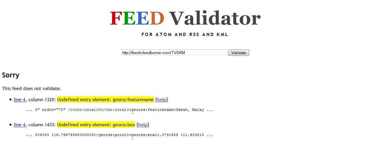 feed validator 'sorry'