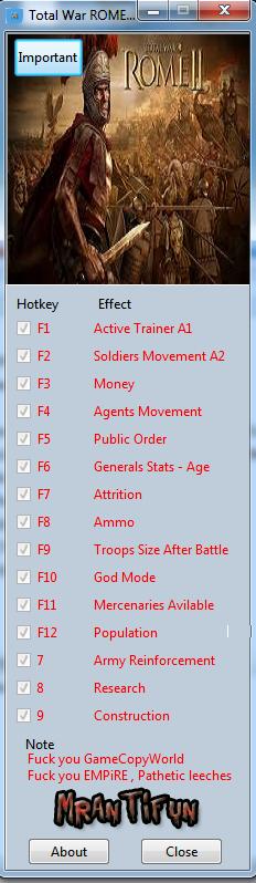 Total War ROME II V1.11.0 Steam Trainer +15 MrAntiFun