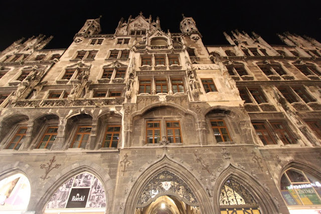 A close up of the architectural design on the New Town Hall in Marienplatz in Munich, Germany