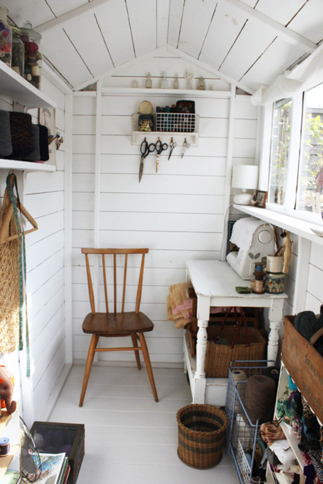 Sweet sewing shed content in a cottage - Small space sewing area style ...