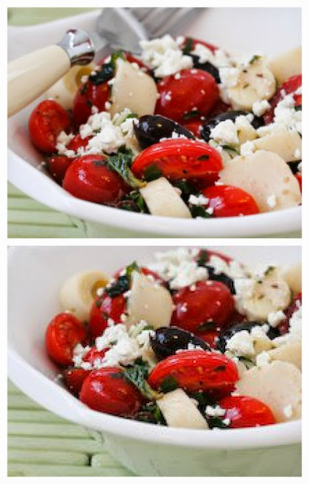 Hearts of Palm Salad Recipe with Tomatoes, Olives, Feta, and Basil Vinaigrette