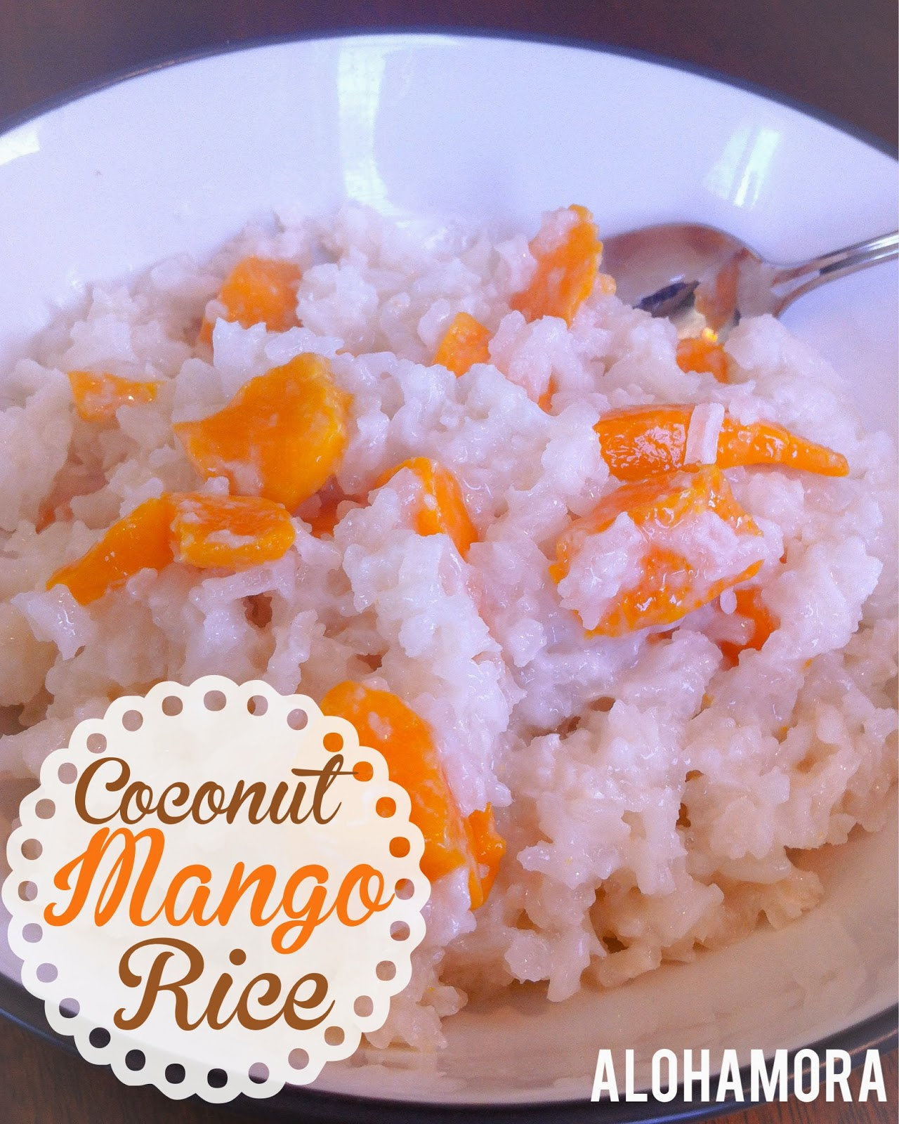 Thai coconut Mango Rice.  Sticky sweet goodness that's delicious for dessert warm or for breakfast cold. Alohamora Open a Book http://alohamoraopenabook.blogspot.com/