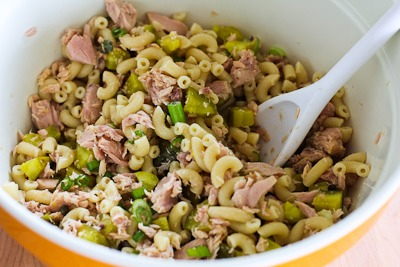 Tuna and Macaroni Salad Recipe with Dill Pickles, Capers, and Green ...