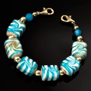 womens beaded bracelet blue gold