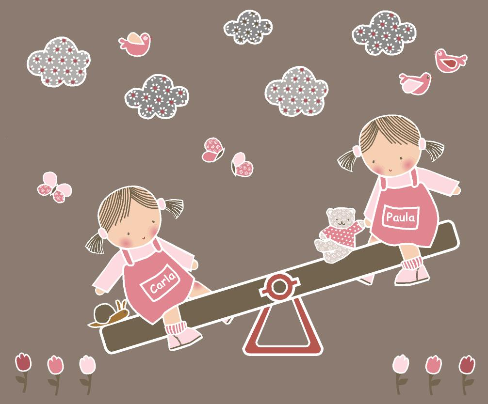 Vinilos infantiles personalizados vinilos infantiles gemelas - Vinilos personalizados pared ...