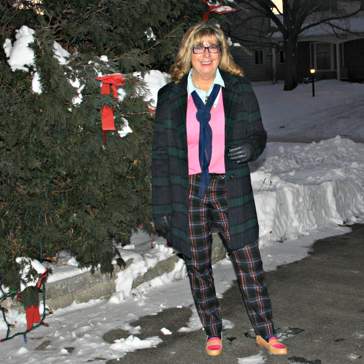 Forever 21 Plaid coat withTarget plaid pants with a pink cashmere sweater  and tommy loafers 2