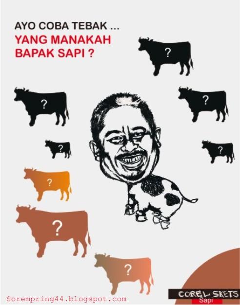 Karikatur Fathanah dan Lufhi - Sapi dan SBY - LAGI BELAJAR