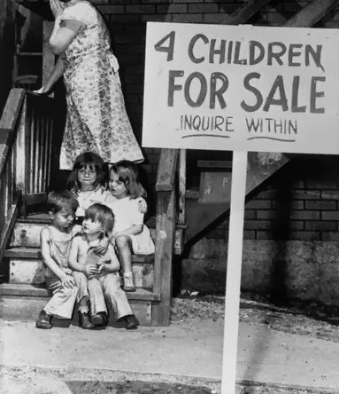Mother putting her children up for sale