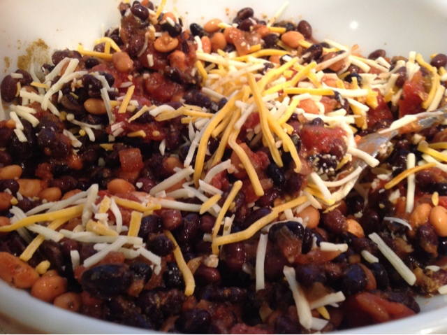 Closeup bowl of Mexican Bean Bake