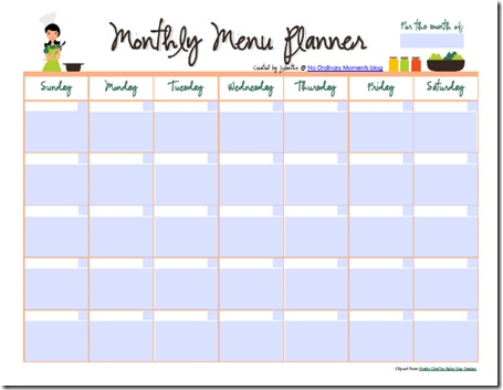 Homeschool Parent: Monthly Menu Planners