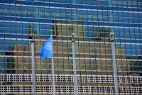 Reflets de Tudor City sur vitres de l'ONU, New York