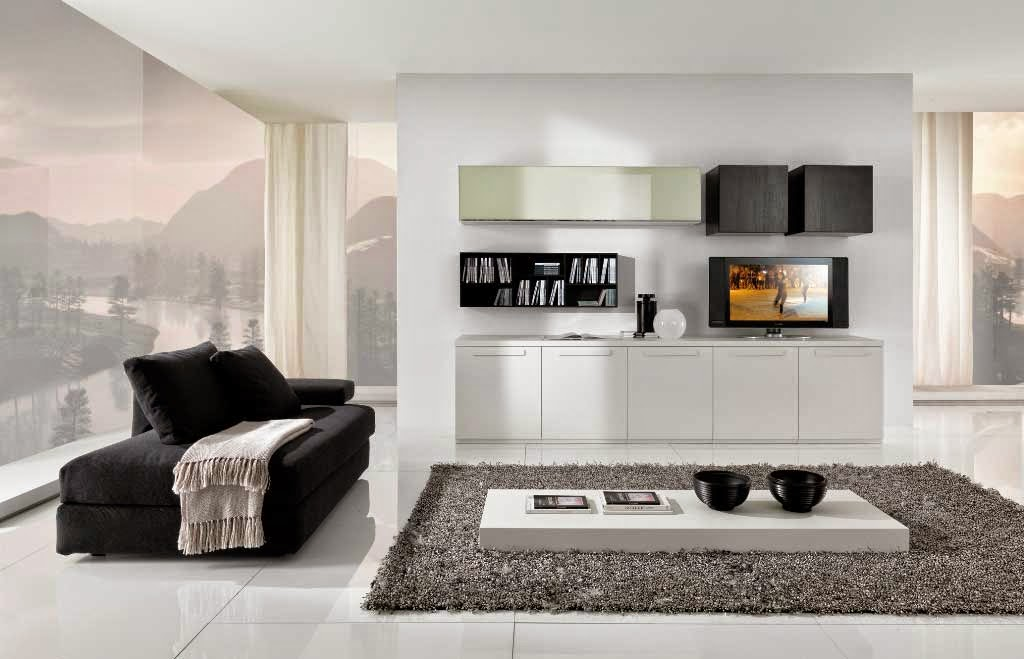 Decorative Cabinet Design White Minimalist Living Room