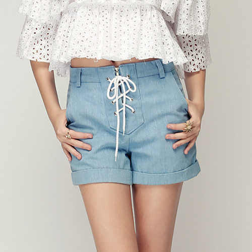 Cuffed Soft Denim Criss Cross Tie Shorts