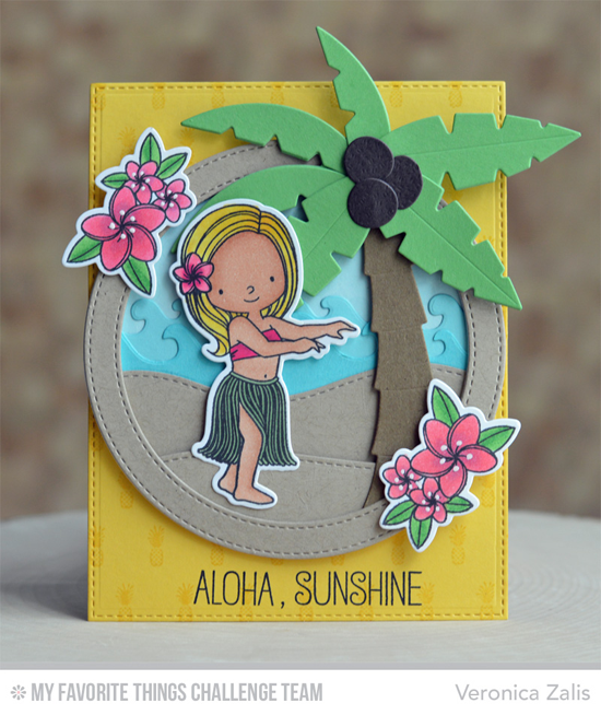 Aloha Sunshine Card by Veronica Zalis featuring the Birdie Brown Polynesian Paradise stamp set and Die-namics, Pineapple Background stamp, and Palm Tree Die-namics #mftstamps