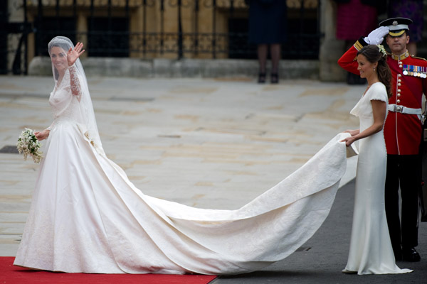 Royal couturewilliam and kate royal wedding kate wears earlier today catherine middleton became duchess of cambridge as well as a princess when she married prince william at westminster abbey in the wedding of junglespirit Images