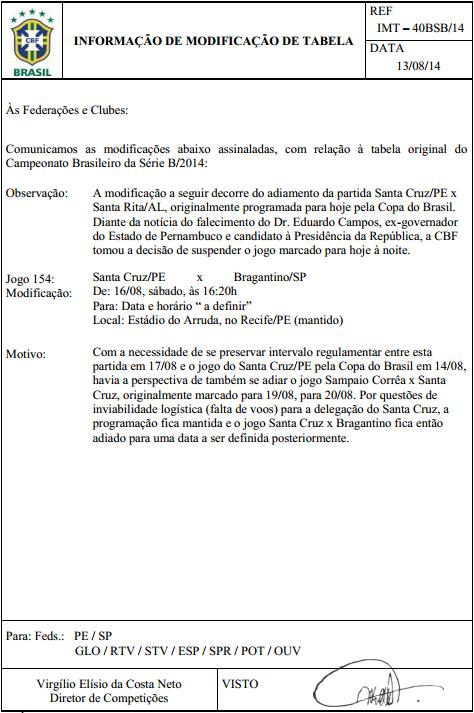 COMUNICADO DA CBF