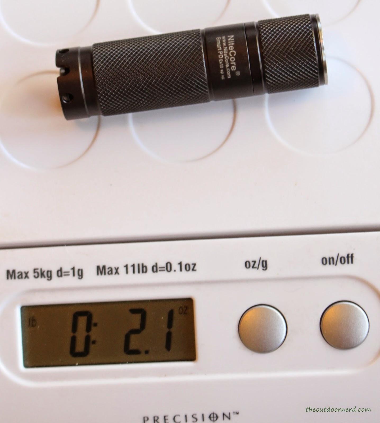 Nitecore Ex10 1xCR123A Flashlight On Scale