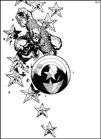 Desenhos Preto e Branco Capitão America Colorir