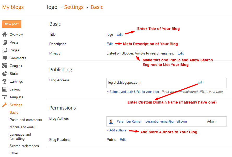 Create a Blog on Blogger - Enter Title, Description and Privacy, Add Custom Domain URL - Step-6