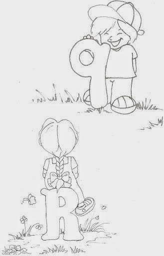 desenho de alfabeto das crianças Q e R