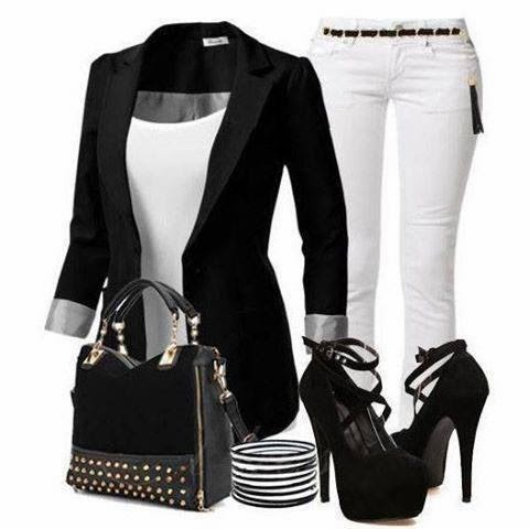 Black Long Jacket with  White Jeans and Black High-Heeled Shoes and Black Nice Handbag with Accessories