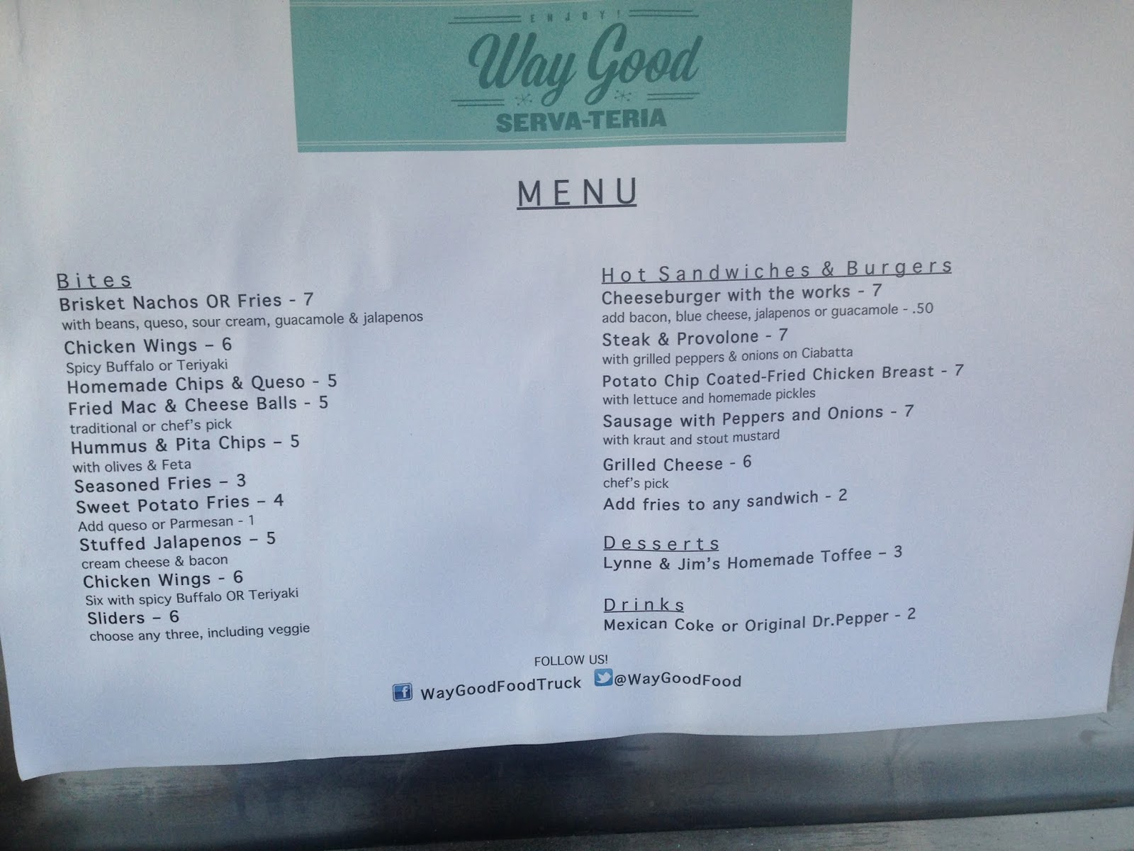 Way Good Serva-Teria, Food Truck Houston TX Menu