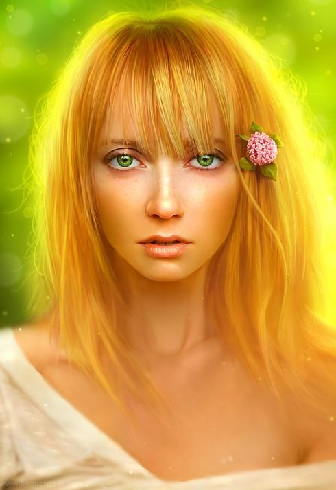 apple,digital art girl,micheal oswald